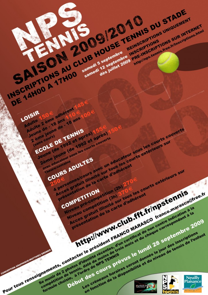 FEUILLET D'INSCRIPTION 04 - TENNIS